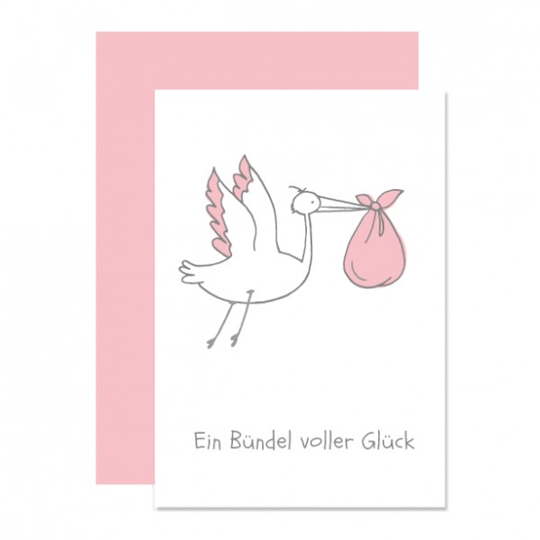 Bündel Glück rosa - Klappkarte Letterpress