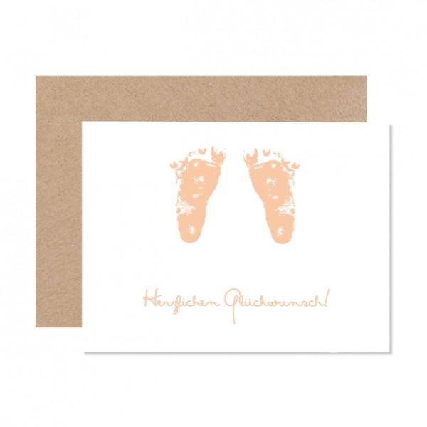 Babyfüße - Klappkarte Letterpress