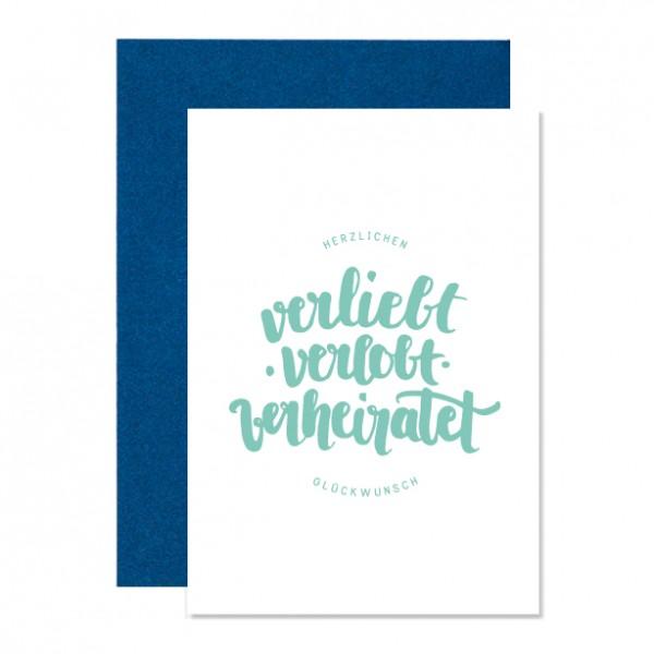Verliebt velobt verheiratet – Klappkarte Letterpress