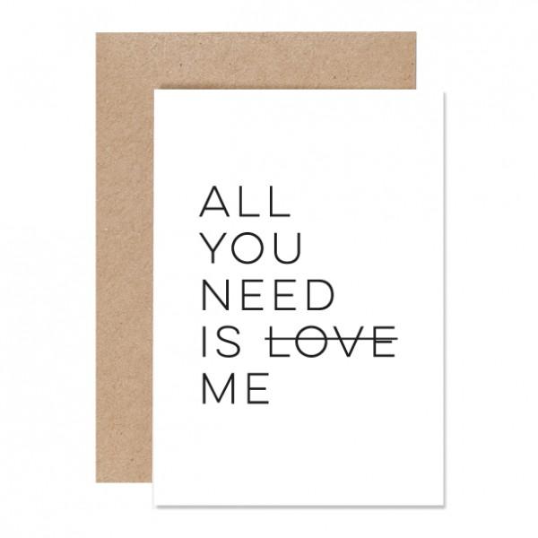 All you need – Klappkarte Letterpress