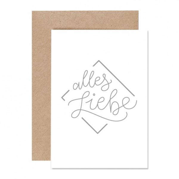 Alles Liebe – Klappkarte Letterpress