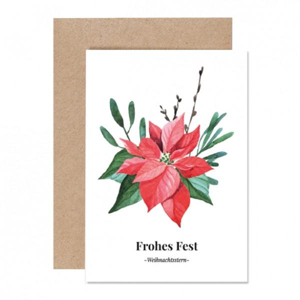 Frohes Fest Weihnachtsstern - Klappkarte