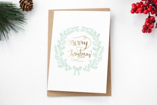 Merry Christmas – Klappkarte Letterpress & Heißfolienprägung