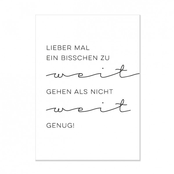 Lieber zu weit - Letterpress Miniposter