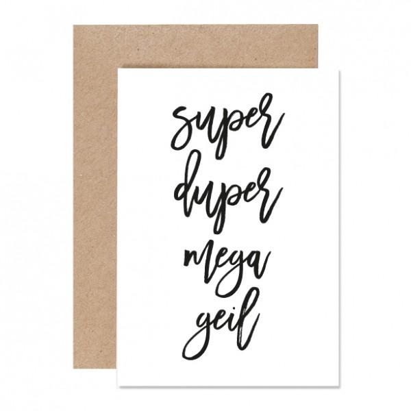 Superdupermegageil– Klappkarte Letterpress