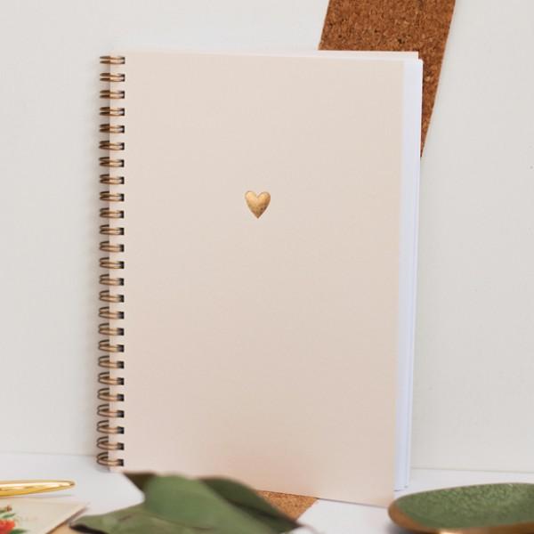 Notizbuch goldenes Herz, rosé