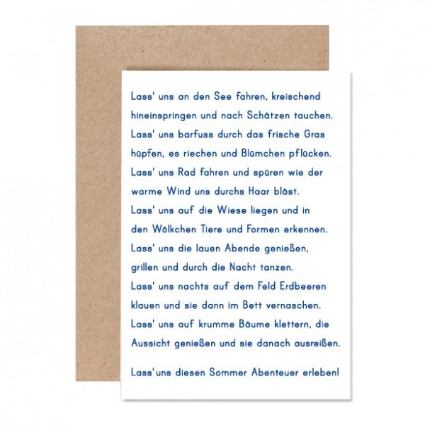 Sommerabenteuer – Klappkarte Letterpress