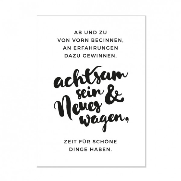 Achtsam sein - Letterpress Miniposter