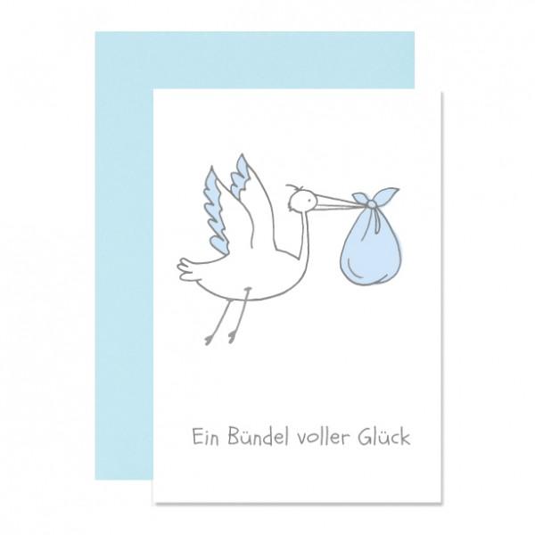 Bündel Glück blau - Klappkarte Letterpress