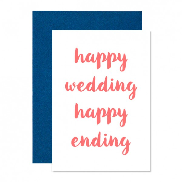 Happy wedding happy ending – Klappkarte Letterpress