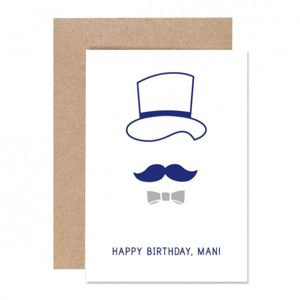 Birthdayman - Klappkarte Letterpress