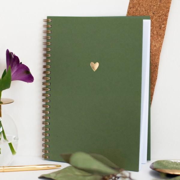 Notizbuch goldenes Herz, green