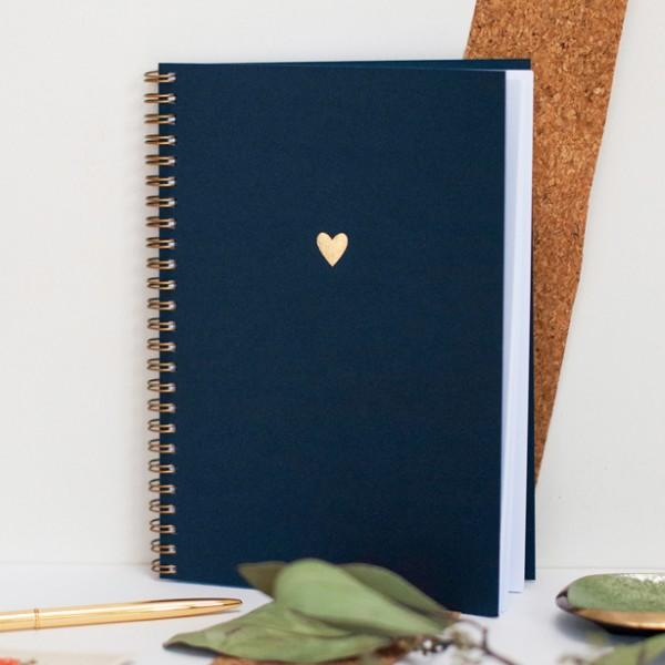 Notizbuch goldenes Herz, deep blue